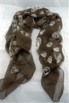 Silkaline skull scarf - Chocolate Brown with white skulls